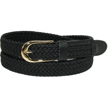 Size Xlarge Womens Elastic Braided Stretch Belt (Pack of 2), Black