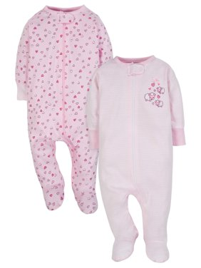 Zip Up Sleep N Play Sleeper, 2pk (Baby Girl)