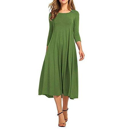 Women Dress Clearance Casual Half Sleeve Loose Ladies Evening Long Maxi