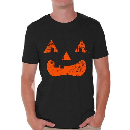 Awkward Styles Jack-O'-Lantern Pumpkin Tshirt Halloween Shirts for Men Holiday Gifts Halloween Pumpkin Shirt Dia de los Muertos Tshirt Pumpkin Face T Shirt Trick or Treat Men's Shirt Halloween Party - Draw Halloween Pumpkin Face