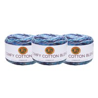Lion Brand Yarn 756-709C COMFY COTTON BLEND OCEAN BREEZE 3 Pack Cotton Yarn
