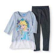 80a89f3012a7a Elsa Sweater Knit Chiffon Hem Top and Legging, 2-Piece Outfit Set (Little