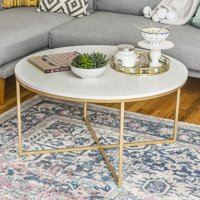Deals on Desert Fields Daisy Faux Marble and Gold Round Coffee Table