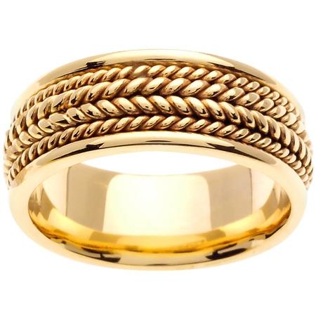 14K Gold Rope Edge Braid Handmade Comfort Fit Women's Wedding Band (Rope Edge Band)