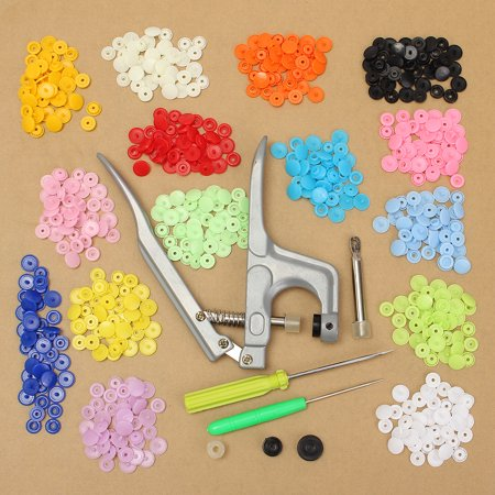 150pcs Snap Fastener Pliers Tool Kit KAM T5 Buttons Plastic Resin Press Stud Fastener with Snap Pliers Buckle Clasp Clamp Srcew Driver Kit For DIY Cloth Diaper