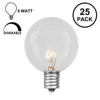 Novelty Lights 25 Pack G40 Outdoor Globe Replacement Bulbs, C7/E12 Candelabra Base, 5 Watt