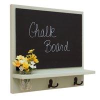 Message Board with Chalkboard, Coat Hooks & Mason Jar