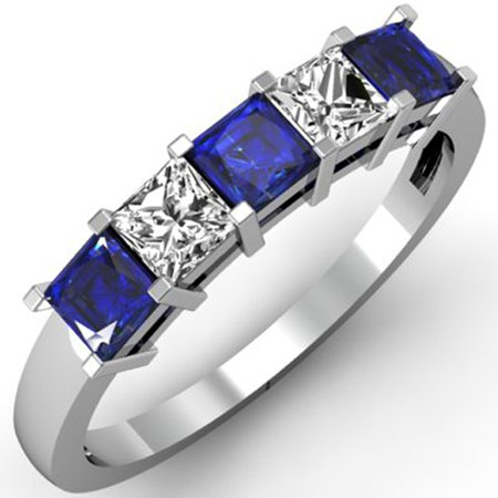 Dazzlingrock Collection 18K Princess Blue Sapphire & White Diamond 5 Stone Bridal Wedding Band Ring 1 CT, White Gold, Size 9 ()