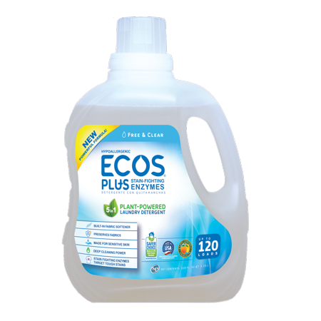 Ecos Plus HE Liquid Laundry Detergent with Stain-Fighting Enzymes Free & Clear 120 Loads