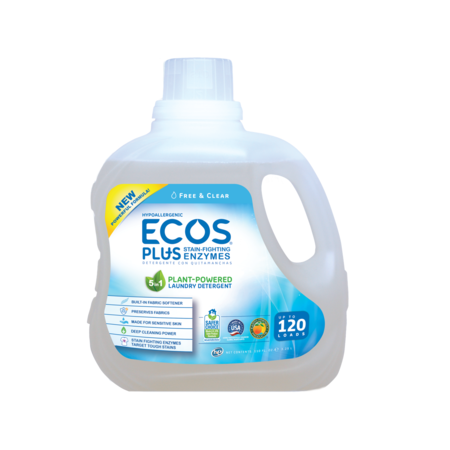 ECOS Plus Liquid Laundry Detergent with Stain-Fighting Enzymes, Free & Clear, 120 Loads, -