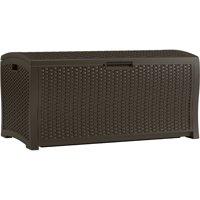 Suncast 122 Gallon Resin Wicker Deck Box, Java, DBW9935