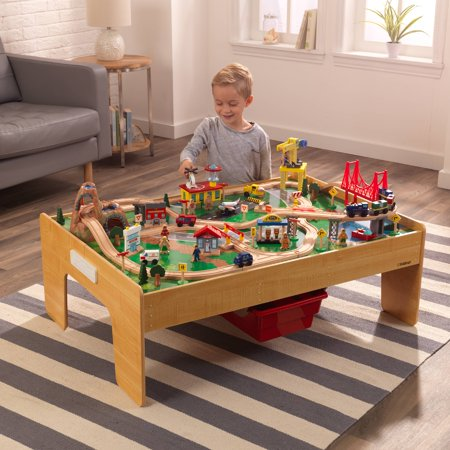 KidKraft Adventure Town Railway Train Set & Table with EZ Kraft Assembly and 120 accessories