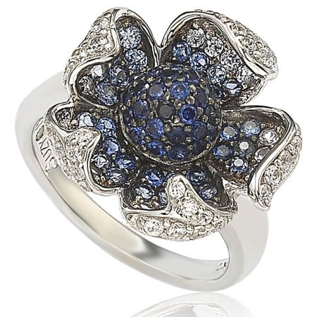 2.4 CT Sapphire and Diamond in Sterling Silver and 18K Pave Flower Gold Ring