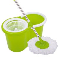 Ktaxon Microfiber Magic Mop with Bucket 2 Heads Rotating 360°Easy Floor Mop  - Liquid Drain Hole - Easy Wring with Reusable Mop Heads 4 Color
