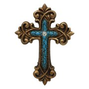 Pine Ridge Double Magnetic Turquoise Cross Home Decor By Religious Light Weight Polyresin Made Wall