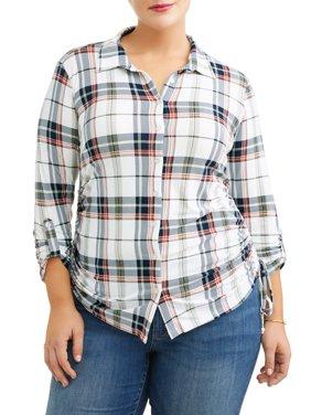 Plus Size Knit Plaid Cinched Shirt
