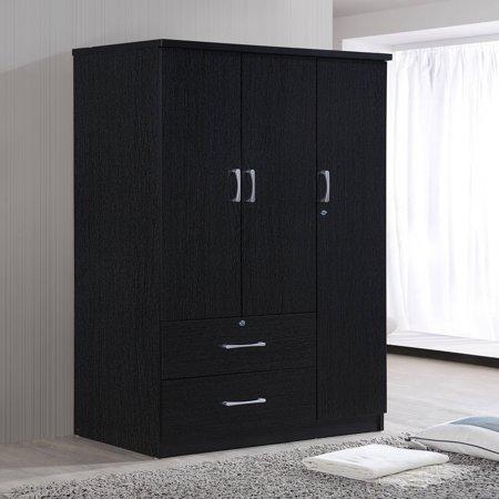 Hodedah 3-Door 36 in. Wide Armoire with 2-Drawers ...