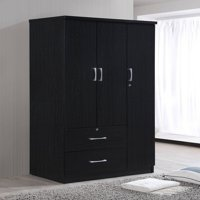 Hodedah 3-Door 36 in. Wide Armoire with 2-Drawers, Clothing Rod and 3-Shelves in Black