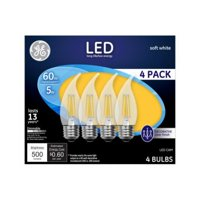GE LED 5W Soft White, Clear Finish, Decorative Medium Base, Dimmable, 4pk Light Bulbs