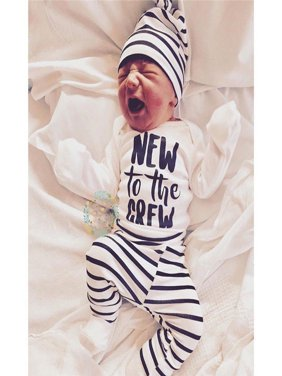 Newborn Baby Boy Girl New to the Crew Romper Pants Trousers 4PCS Outfits Clothes
