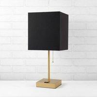 Better Homes & Gardens Fabric Black Shade Metallic Base Lamp