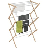 Honey Can Do Folding Wood Accordion Drying Rack, White/Natural