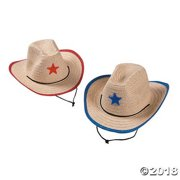 be499059c0102 Childs Straw Cowboy Hat with Plastic Star - 12 Pieces