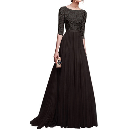 Long Formal Dresses For Women Vintage Half sleeve Slim Fit Lace Wedding Dresses Temperament Elegant Bridesmaid Dress Evening Party