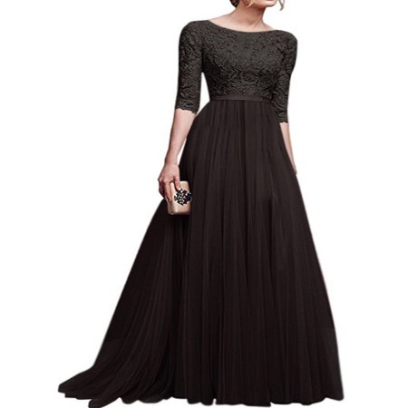 - Long Formal Dresses For Women Vintage Half sleeve Slim Fit Lace Wedding Dresses Temperament Elegant Bridesmaid Dress Evening Party
