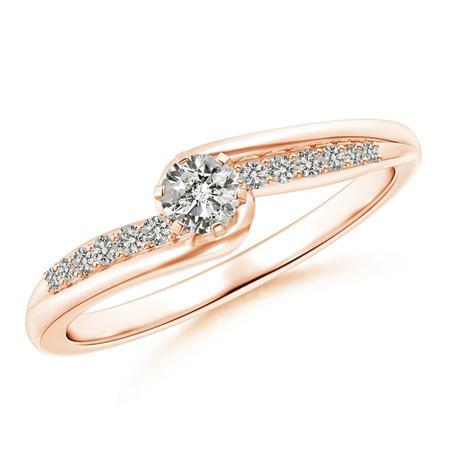 - April Birthstone Ring - Six Prong-Set Solitaire Diamond Bypass Promise Ring in 14K Rose Gold (3.5mm Diamond) - SR1589D-RG-KI3-3.5-6.5