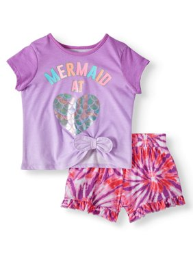 Side-Tie Top & Print Ruffle Shorts, 2pc Outfit Set (Toddler Girls)
