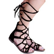 18de2d05e5f596 Ladies Casual Knee High Lace Up Leg Wrap Flat Sandals Roman Gladiator  Shoes. Product Variants Selector. Black