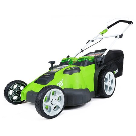 Greenworks 20-Inch 40V G-MAX Cordless Lithium-Ion 2-in-1 Twin Force Lawn Mower, Batteries Included 25302