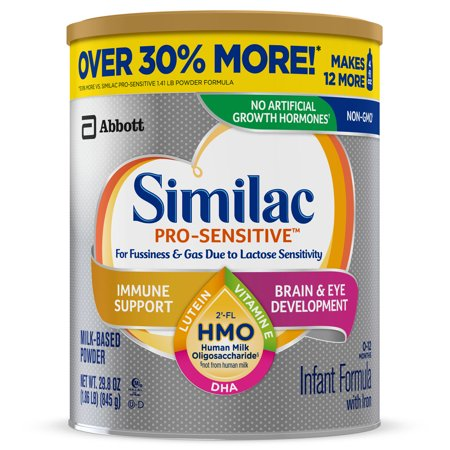Similac Pro-Sensitive Non-GMO with 2'-FL HMO Infant Formula with Iron for Immune Support, Baby Formula 29.8 oz