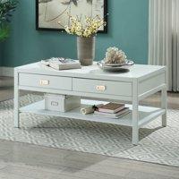 Linon Peggy Coffee Table, White, Two Drawers, One Shelf