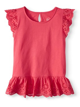 Girls' Short Sleeve Eyelet Top (Little Girls, Big Girls, & Plus)
