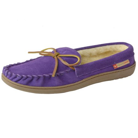 Alpine Swiss Sabine Womens Suede Shearling Moccasin Slippers House Shoes Slip On ()