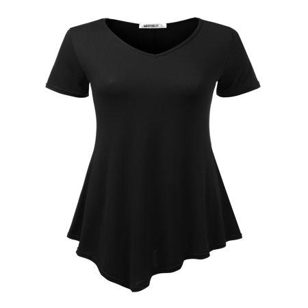 Doublju Women's Short Sleeve Swing Tunic Tops for Leggings Flowy Basic T Shirt Plus Size BLACK S