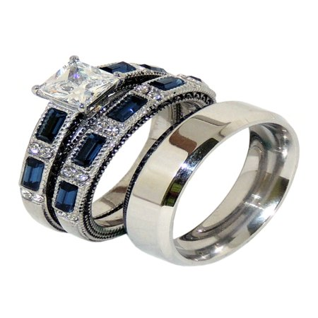 His and Hers Couple Stainless Steel Princess CZ Wedding Ring set Mens Flat Band- Size W5M7 - Flat Wedding Band