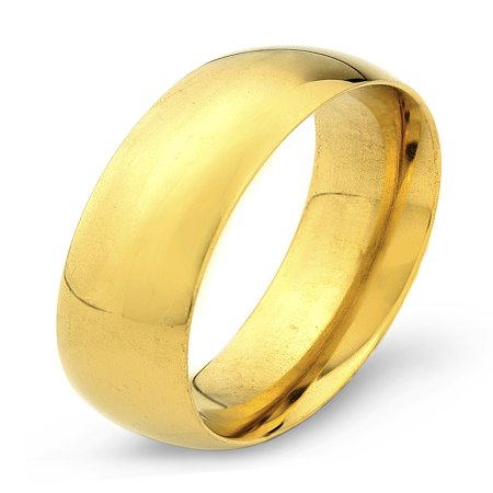 Gold Plated Stainless Steel Polished Traditional Wedding Ring (6mm) ()