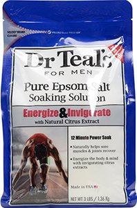Dr Teal's for Men Pure Epsom Salt Soaking Solution, Energize & Invigorate with Natural Citrus Extract, 3 lb