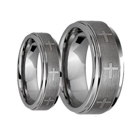 His & Her's 8MM/6MM Brushed Center With Laser Cross Engraved Shiny Edge Tungsten Carbide Wedding Band Ring Set
