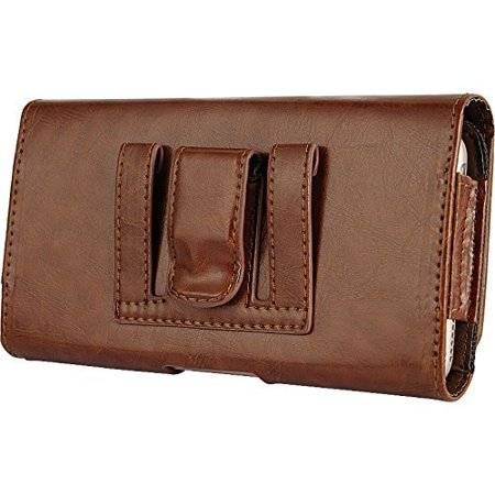 Apple iPhone 8 Plus / iPhone 7 Plus / iPhone 6 Plus / iPhone 6s Plus EXTRA LARGE Horizontal Leather Pouch Carrying Case Holster Belt Clip Magnetic Closure Fits - Brown 2