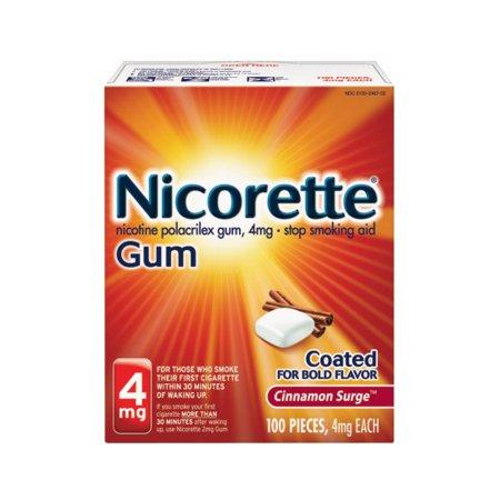 Nicorette Nicotine Gum, Stop Smoking Aid, 4 mg, Cinnamon Surge Flavor, 100 (Best Quit Smoking Aid)