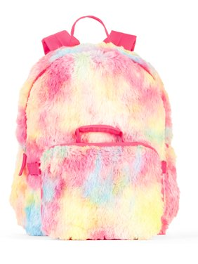 Girls' Rainbow Fur Backpack With Lunch Bag