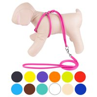 Rolled Leather Dog Harness Step-In Leash for Small Dogs, Pink