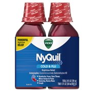 Vicks NyQuil, Nighttime Cold & Flu Symptom Relief, Relives Aches, Fever, Sore Throat, Sneezing, Runny Nose, Cough, 12 Fl Oz (Pack of 2), Cherry Flavor