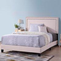 Harper&Bright Designs Milan Upholstered Platform Bed with Wooden Slats and Nailhead Detail