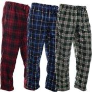 DG Hill (3 Pairs) Mens PJ Pajama Pants Bottoms Fleece Lounge Sleepwear Plaid PJs with Pockets Pants (Red, Blue & Green)