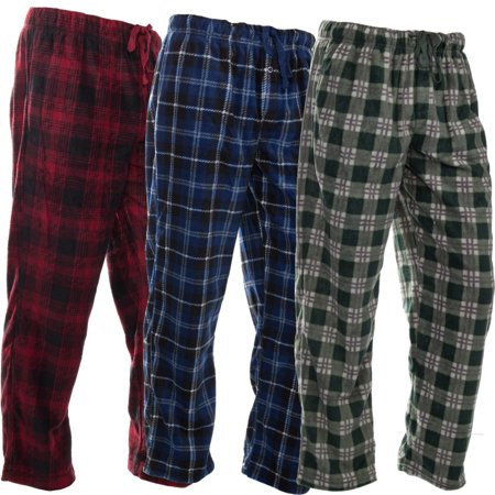 DG Hill (3 Pairs) Mens PJ Pajama Pants Bottoms Fleece Lounge Pants Sleepwear Plaid PJs with Pockets Microfleece (Plaid Short Pants)